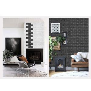 Set 5 x Tapet negru caramida, autoadeziv, 77 x 70 cm, spuma moale 3D