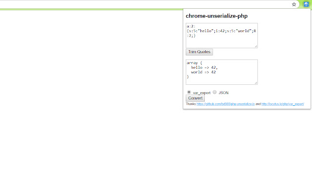 chrome-unserialize-php