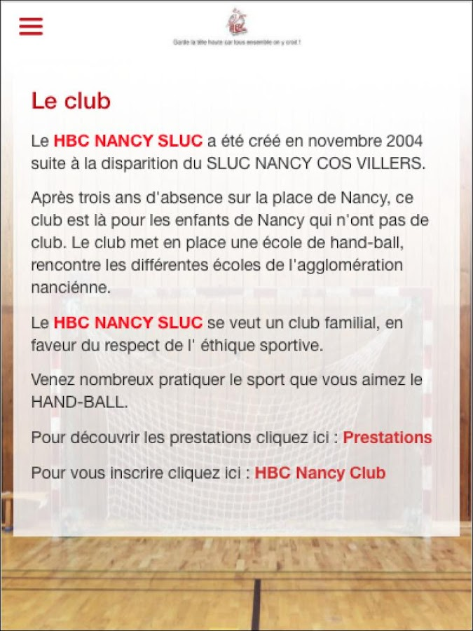 Nancy SLUC Handball – Capture d'écran