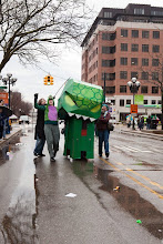 Photo: It was an ordinary street parade, Festifools, in downtown Ann Arbor, Michigan. But what is that off in the distance?