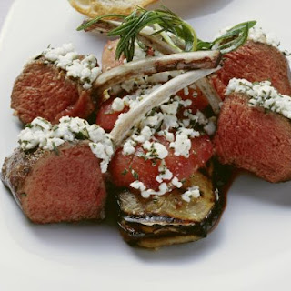 Lamb Chops with Aubergine and Soft Cheese