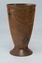 "Photo: Mike Colella 3"" x 6"" goblet [walnut with turquoise inlay]"