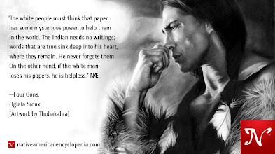 Photo: The white people must think that paper has some mysterious power to help them in the world. The Indian needs no writings; words that are true sink deep into his heart, where they remain. He never forgets them. On the other hand, if the white man loses his papers, he is helpless. —Four Guns, Oglala Sioux [Artwork by Thubakabra]