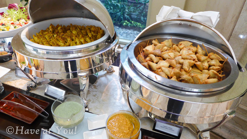 The Lobby's chicken satay and veg samosa