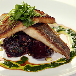 White Fish, Roasted Beets, French Lentils & Salsa Verde