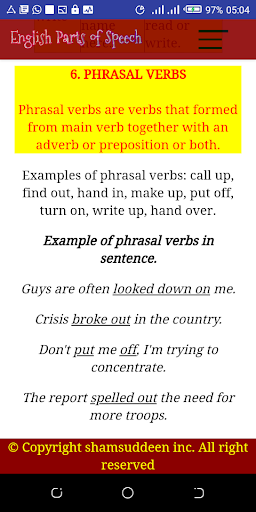 English Parts of Speech with Examples screenshot 3