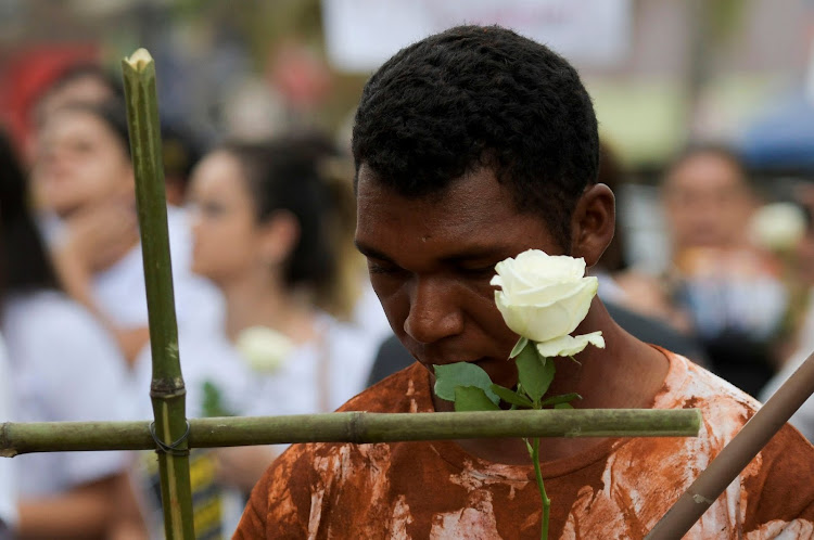 A demonstration in honour of victims of the Vale SA dam disaster in Brumadinho, Brazil.