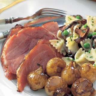 Balsamic- and Dijon-Glazed Ham with Roasted Pearl Onions Recipe