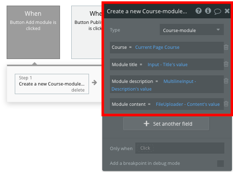 Creating a new course module in Bubble's Udemy clone app