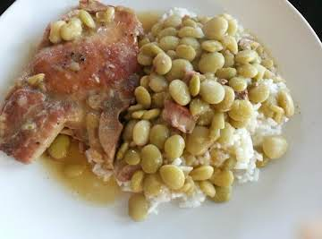 CAJUN COMFORT PORK CHOPS AND BABY LIMA BEANS