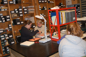 Photo: FSU Anthropology comparative faunal collection (Dr. Rochelle Marrinan, a faunal expert) working with students in the collection.