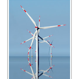 Reflection by Dalibor Bakac - Digital Art Things ( turbine, reflection, northsea, windfarm, sea, wind,  )