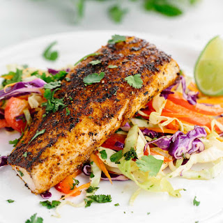 Pan Seared Mahi Mahi with Honey Lime Coleslaw