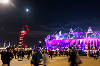 Photo: ArcelorMittal Orbit, Olympic Stadium and the Moon