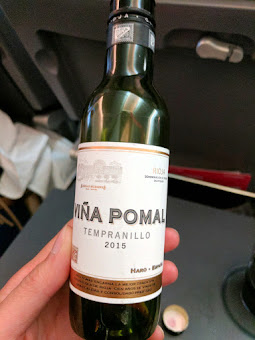 Starting off Spain trip with in-flight Spanish wine