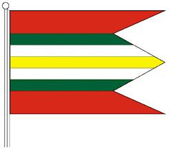 Photo: A falu zászlójának színes rajza, leírása: Csicsó falu lobogója 7 részre van felosztva színek szerint a következőképp: piros 2/9-ed, zöld 1/9-ed, fehér 1/9-ed, sárga 1/9-ed, fehér 1/9-ed, zöld 1/9-ed és végül megint piros 2/9-ed. A lobogó alakja téglalap, aránya 2:3. Három csücsökben végződik, vagyis két bevágással. Az első és harmadik rész piros színű, a középső zöld, fehér, sárga, fehér, zöld sávos.