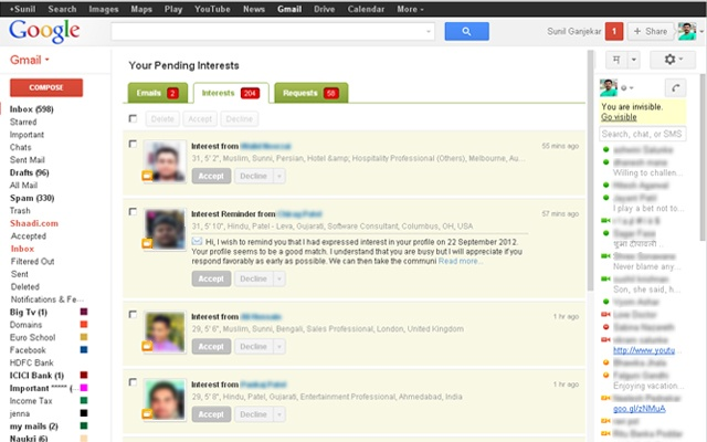 Shaadi.com Unified Inbox - Chrome Web Store