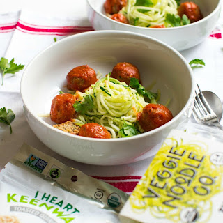 Zucchini Noodles and Vegan Meatballs with Red Sauce.