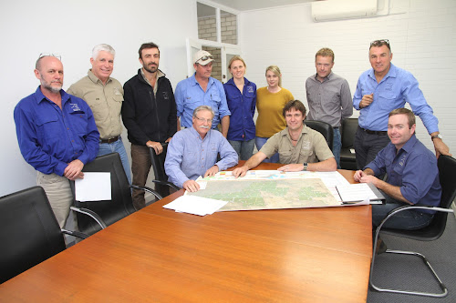 Australian Wildlife Conservancy team members got together in Narrabri recently to discuss the Pilliga project. The AWC maintains a team of eight in Narrabri plus visiting personnel and volunteers when needed. Standing, John Kanowski (National Science and Conservation Manager), Joe Adair (NSW project coordinator), Darcy Ginty (Land Management officer), Bruce Summerfield (Mallee Cliffs Operations Manager), Georgie Custance (Field ecologist), Simone Heron (Operations coordinator), Greg Holland (Senior Wildlife ecologist), Roger Fletcher (Health, Safety and Environment Advisor), seated, Rod Kavanagh (Senior Ecologist), Wayne Sparrow (Pilliga Operations Manager) and Duncan Wallace (Operations Officer).