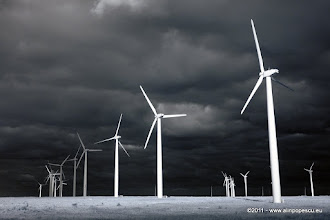 Photo: Alternative energy provided by windmills getting the most out of a stormy day