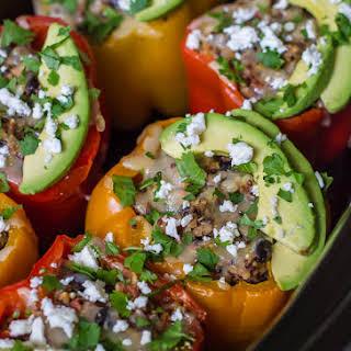 Chicken Quinoa Crock Pot Stuffed Peppers.