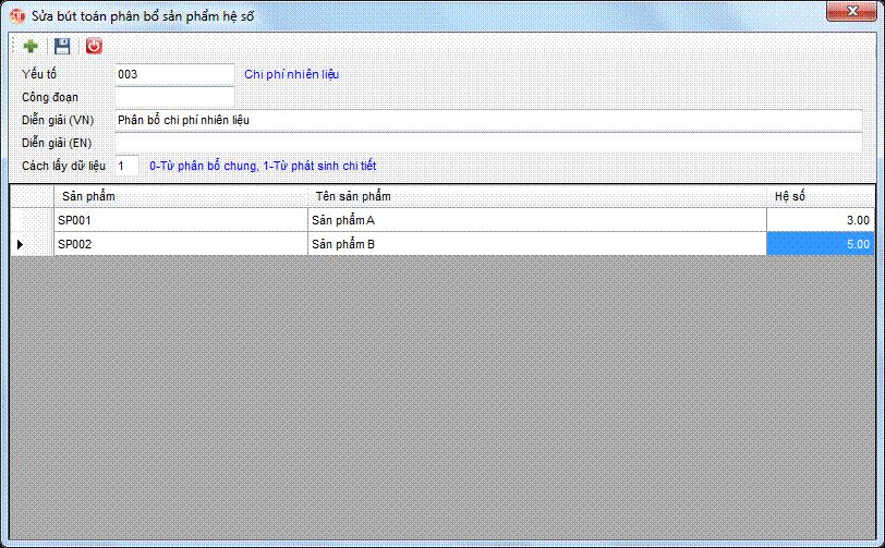 Phân bổ giá thành - phân bổ hệ số phần mềm kế toán 3tsoft
