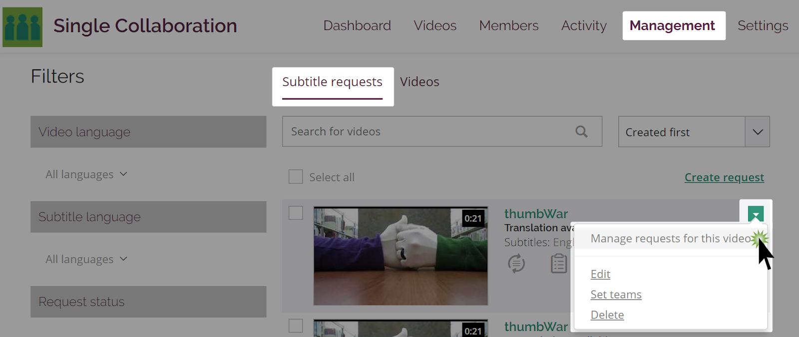Manage subtitle requests option in video dropdown menu on subtitle requests management page