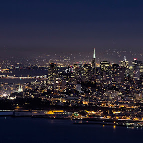 San Francisco Skyline by Terry Scussel - City,  Street & Park  Skylines ( san francisco skyline, san francisco night photography, san francisco, night, lights )