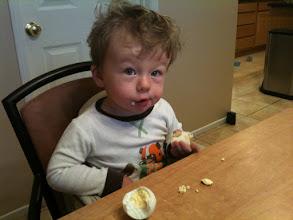 Photo: Finn Eats an Egg