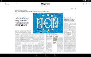 Screenshot of bz Basel E-Paper
