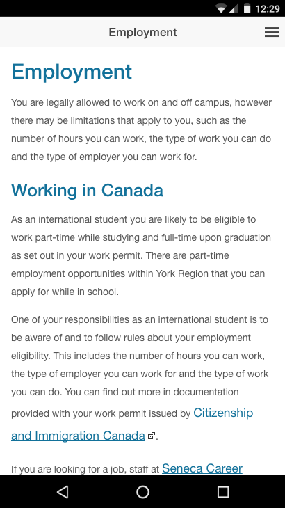 International Student Guide- screenshot