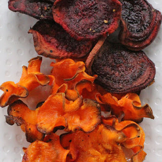 Crispy Baked Carrot and Beet Chips.