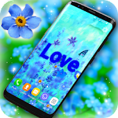 3D Blue Flowers Live Wallpaper