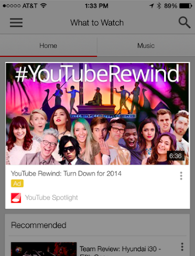 In-display YouTube iOS app homepage