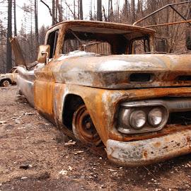 Paradise Fire by Brandon Stout - Transportation Automobiles ( paradise fire, chevrolet, classic truck, paradise, car fire )