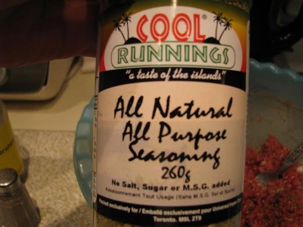Cool Runnings Caribbean All Purpose Seasoning.  Wonderful stuff.  No salt, no sugar,...