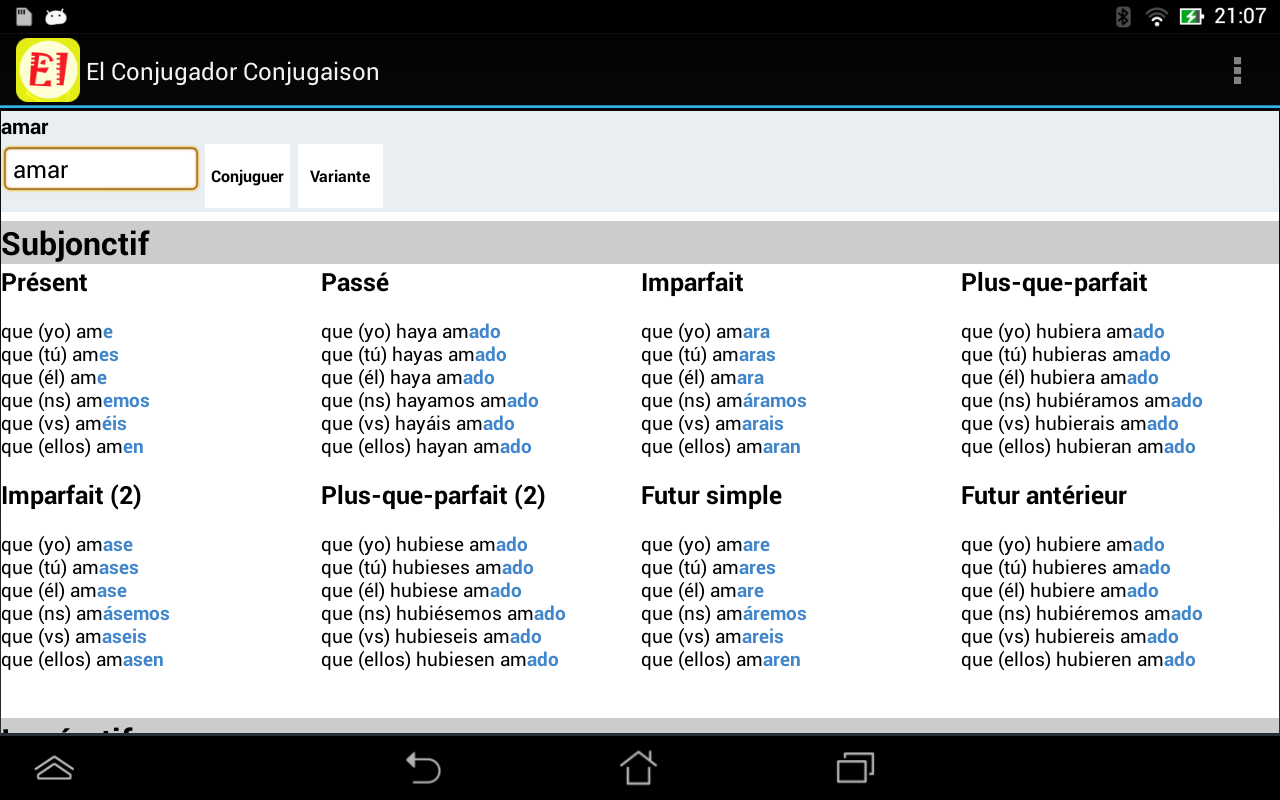 El Conjugador Free- screenshot