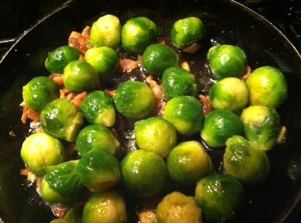 ADD BRUSSEL SPROUTS, RED PEPPER (IF USING) ADD SALT N PEPPER  COOK FOR...