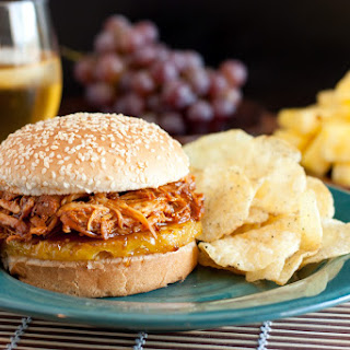 Hawaiian BBQ Pulled Chicken Sandwiches (Slow Cooker Recipe).
