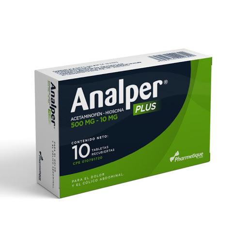 Acetaminofen + Hioscina Analper Plus 500/10 Mg X 10 Tabletas Pharmetique La Sante 500/10 mg x 10 Tabletas