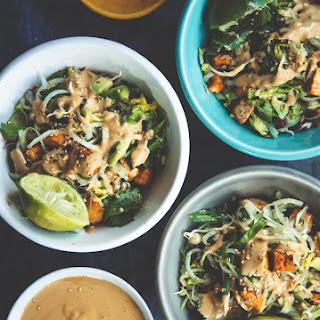 Asian Salad With Cripsy Tofu And Peanut Sauce.