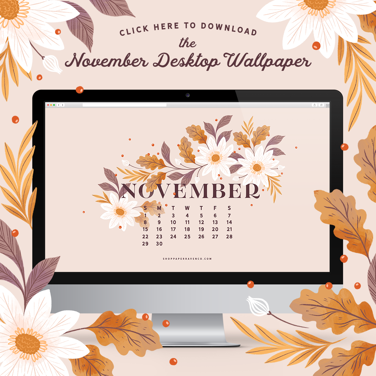 November 2020 Illustrated Desktop Wallpaper by Paper Raven Co. | www.ShopPaperRavenCo.com #dressyourtech #desktopwallpaper #desktopdownload