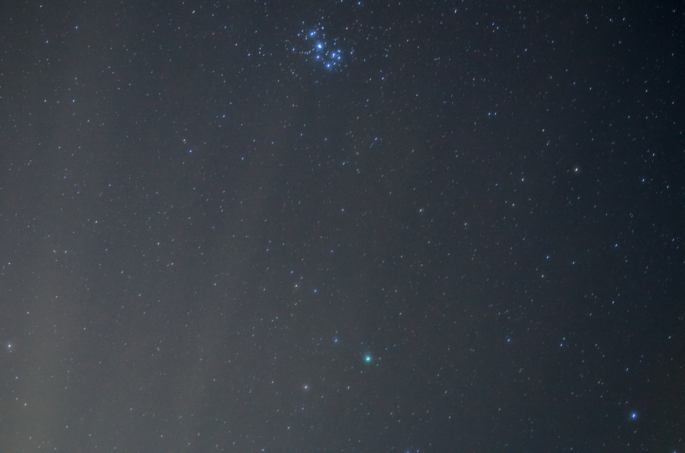 Pleiades (M45) and Comet Lovejoy (C/2014 Q2)