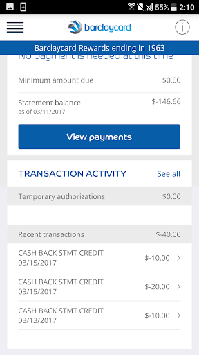 Barclaycard for Android Screenshot