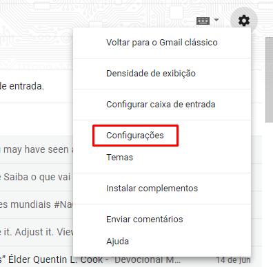 opção de configurações do gmail para criar email