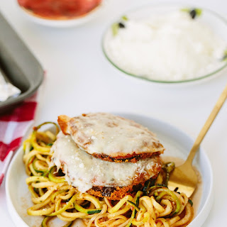 Gluten-Free Eggplant Parmesan with Zucchini Spaghetti.