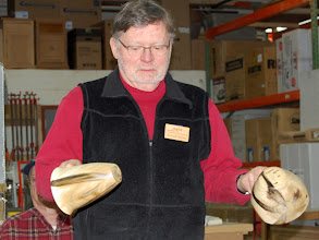 Photo: Richard really liked the unusual markings in the poplar wood and exhibited them in end-grain and side-grain orientations.