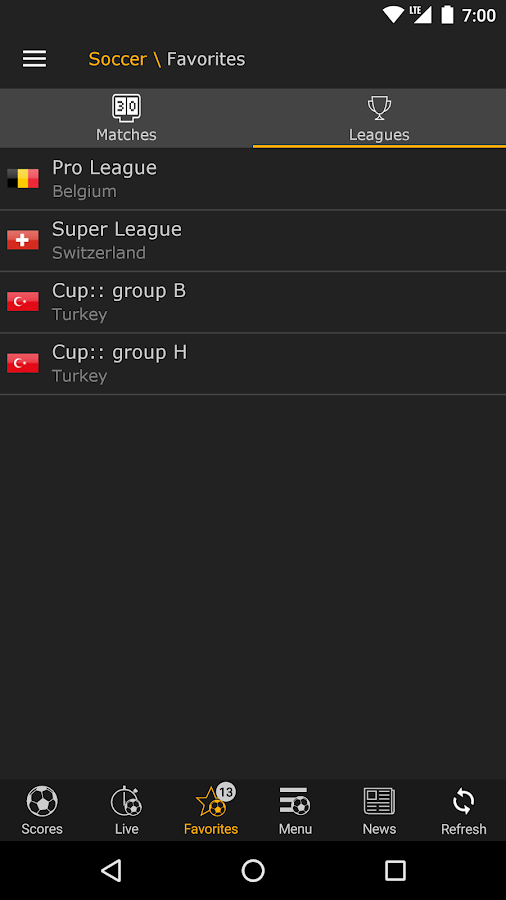 LiveScore- screenshot