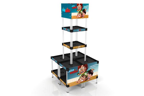 exhibidor modular plástico con bandejas y gráfica payloader PL9