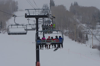 """Photo: PayDay lift riders get some last-minute lobbying with Santa to land on the """"Nice"""" list."""